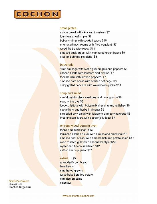Cochon menu