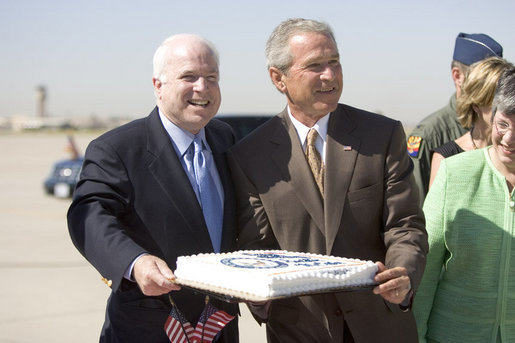 Bush and McCain on the day Katrina struck ... 'Let them eat cake!'