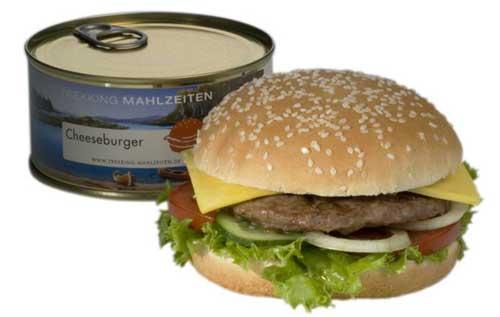 Cheeseburger  in a can. Ewww. Ewwww.