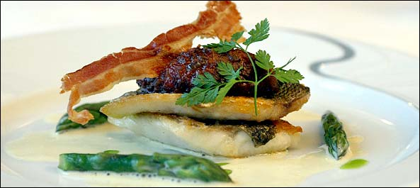 Cromleach Lodge's pan-fried sea bass with quenelle of tomato and pancetta.