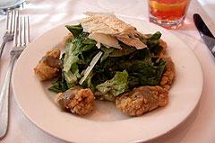 Semolina-Crusted Louisiana Oyster Caesar Salad.