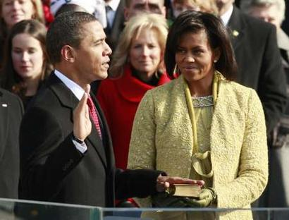 Barack Obama is inaugurated as the 44th President of the United States.