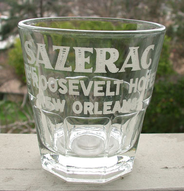 Sazerac cocktail glass, Roosevelt Hotel, New Orleans, c. 1940s